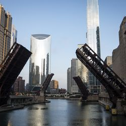 Bridges over the Chicago River are lifted after looting broke out overnight in the Loop and surrounding neighborhoods, Monday morning, Aug. 10, 2020.