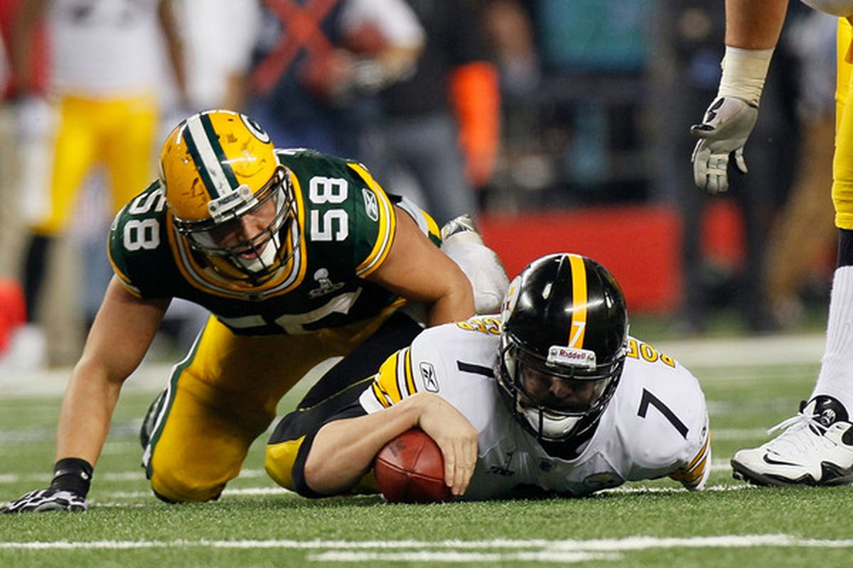 ARLINGTON TX - FEBRUARY 06: Ben Roethlisberger #7 of the Pittsburgh Steelers is sacked by Frank Zombo #58 of the Green Bay Packers during Super Bowl XLV at Cowboys Stadium on February 6 2011 in Arlington Texas.  (Photo by Kevin C. Cox/Getty Images)