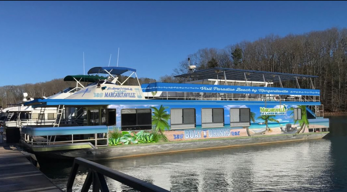 An image of the new boat, emblazoned with a tropical scene.