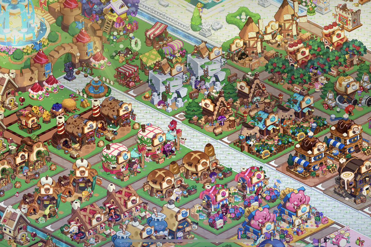 A Cookie Run: Kingdom kingdom from above, showing many different buildings and decorations.