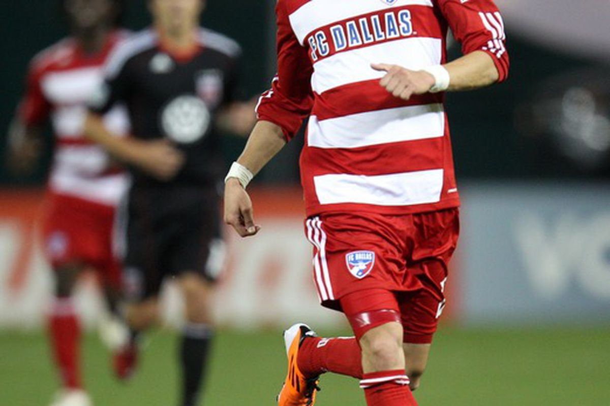WASHINGTON, DC - MAY 7:  Eric Avila #12 of FC Dallas controls the ball against D.C. United at RFK Stadium on May 7, 2011 in Washington, DC. (Photo by Ned Dishman/Getty Images)