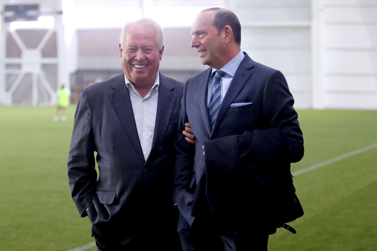 Real Salt Lake owner Dell Loy Hansen and Major League Soccer commissioner Don Garber walk through the new Zions Bank Real Training Academy in Herriman on Wednesday, Feb. 28, 2018.