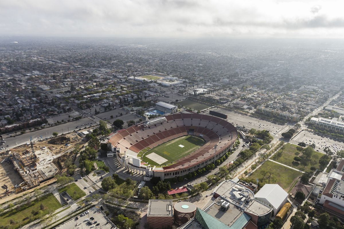 Aerial view of Exposition Park