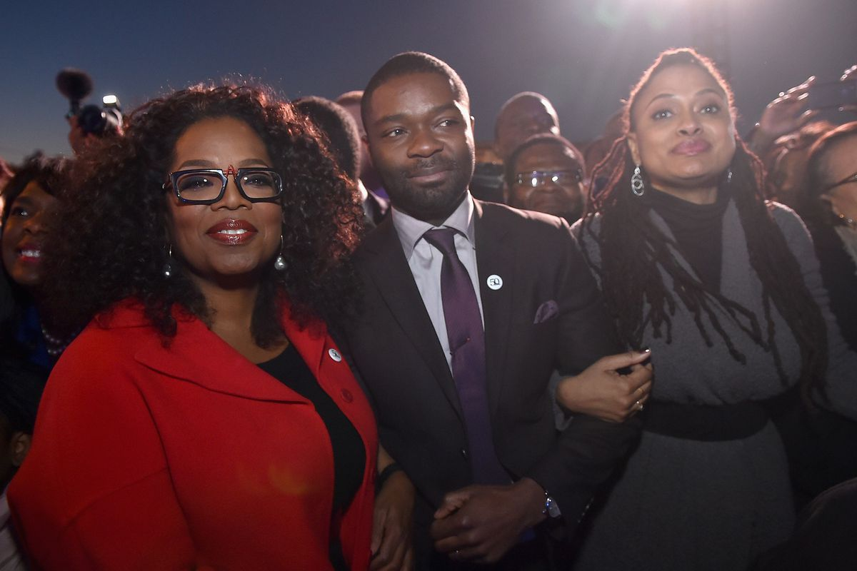 Oprah Winfrey, David Oyelowo and Ava DuVernay lead a commemorative march to the Edmund Pettus Bridge on January 18, 2015 in Selma, Alabama.