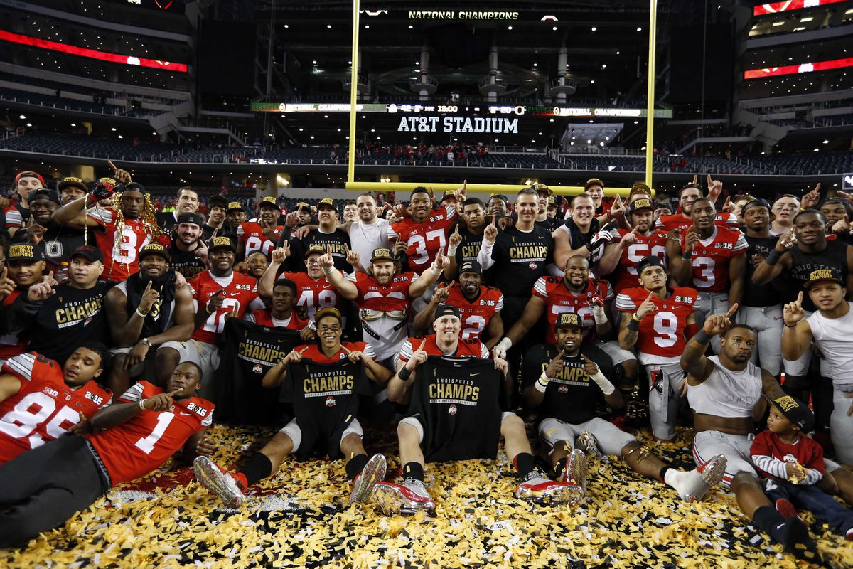 How sweet it is. The College Football Playoff national champions, the Ohio State Buckeyes.