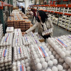 Lily Yang shops for eggs at Costco in Salt Lake City on Friday, Oct. 30, 2015. The Costco, located at 1818 S. 300 West, in Salt Lake City is the largest Costco in the world now that it has added a business center to its consumer store.