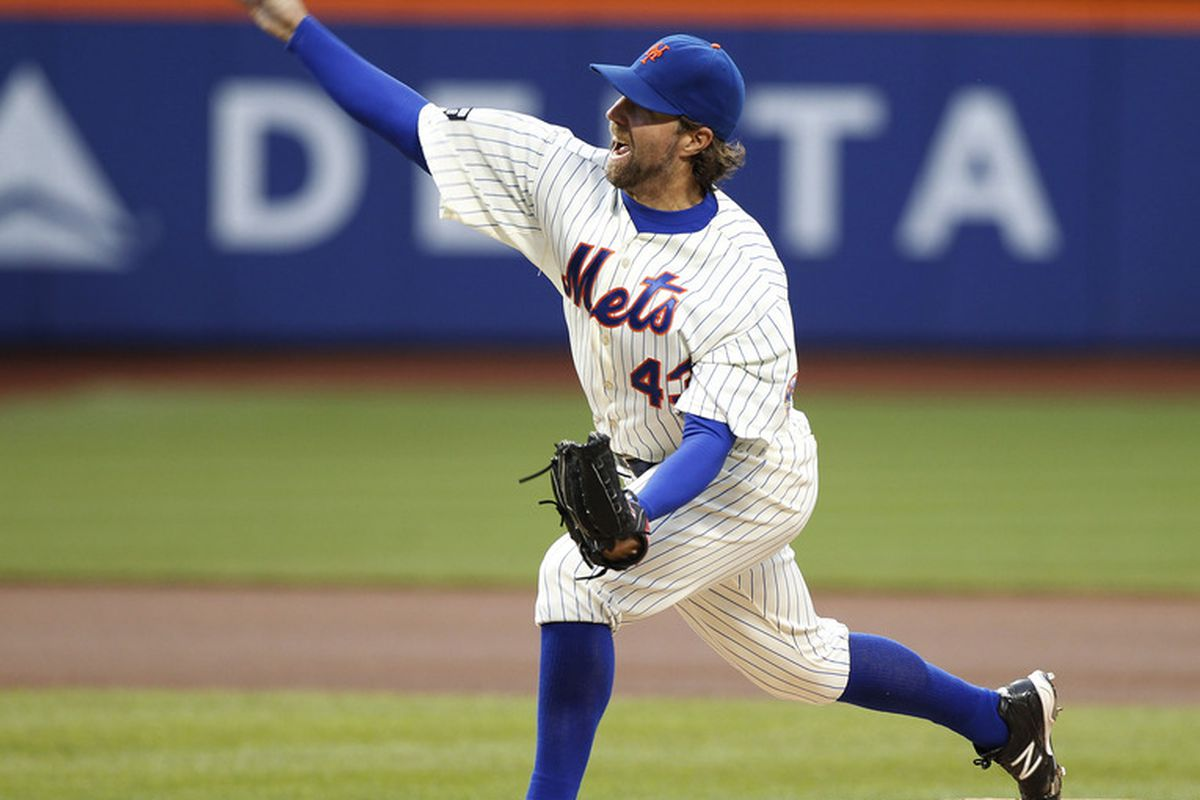 Apr 25, 2012; Flushing, NY,USA; New York Mets starting pitcher R.A. Dickey (43) pitches during the first inning against the Miami Marlins at Citi Field. Mandatory Credit: William Perlman/The Star-Ledger via US PRESSWIRE