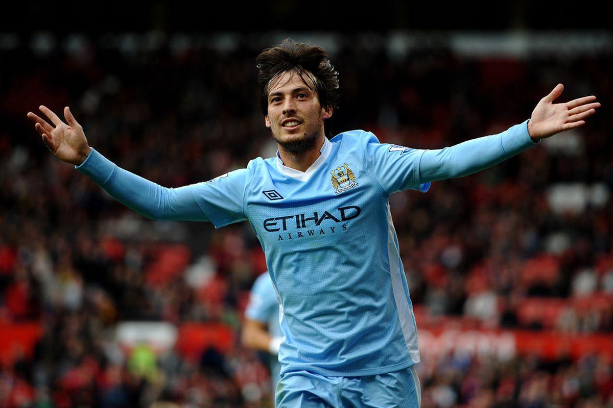 Manchester City's David Silva split open Manchester United