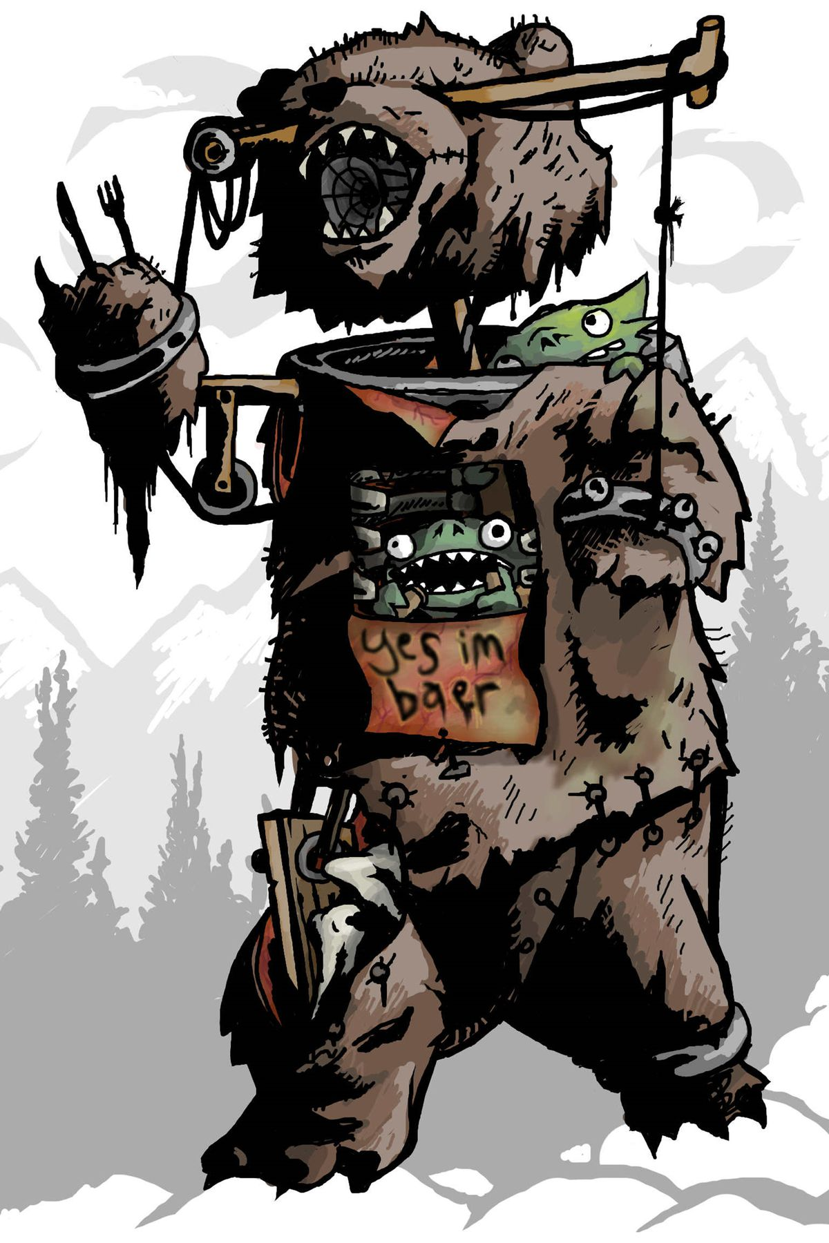 """Three goblins in a bear suit. The sign reads """"Yes I'm baer""""."""