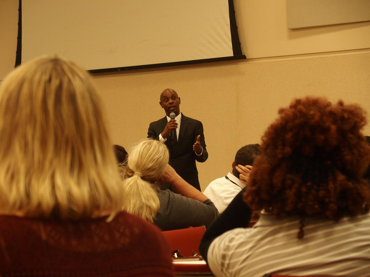 Superintendent Dorsey Hopson answers questions from Memphis teachers at a town hall hosted by United Education Association of Shelby County on in March.