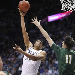 Brigham Young Cougars forward Yoeli Childs (23) drives on San Francisco Dons forward Remu Raitanen (11) in Provo on Saturday, Feb. 8, 2020.