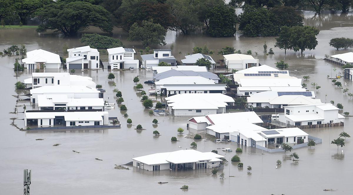 A general view of the flooded area of Townsville on February 04, 2019 in Townsville, Australia.