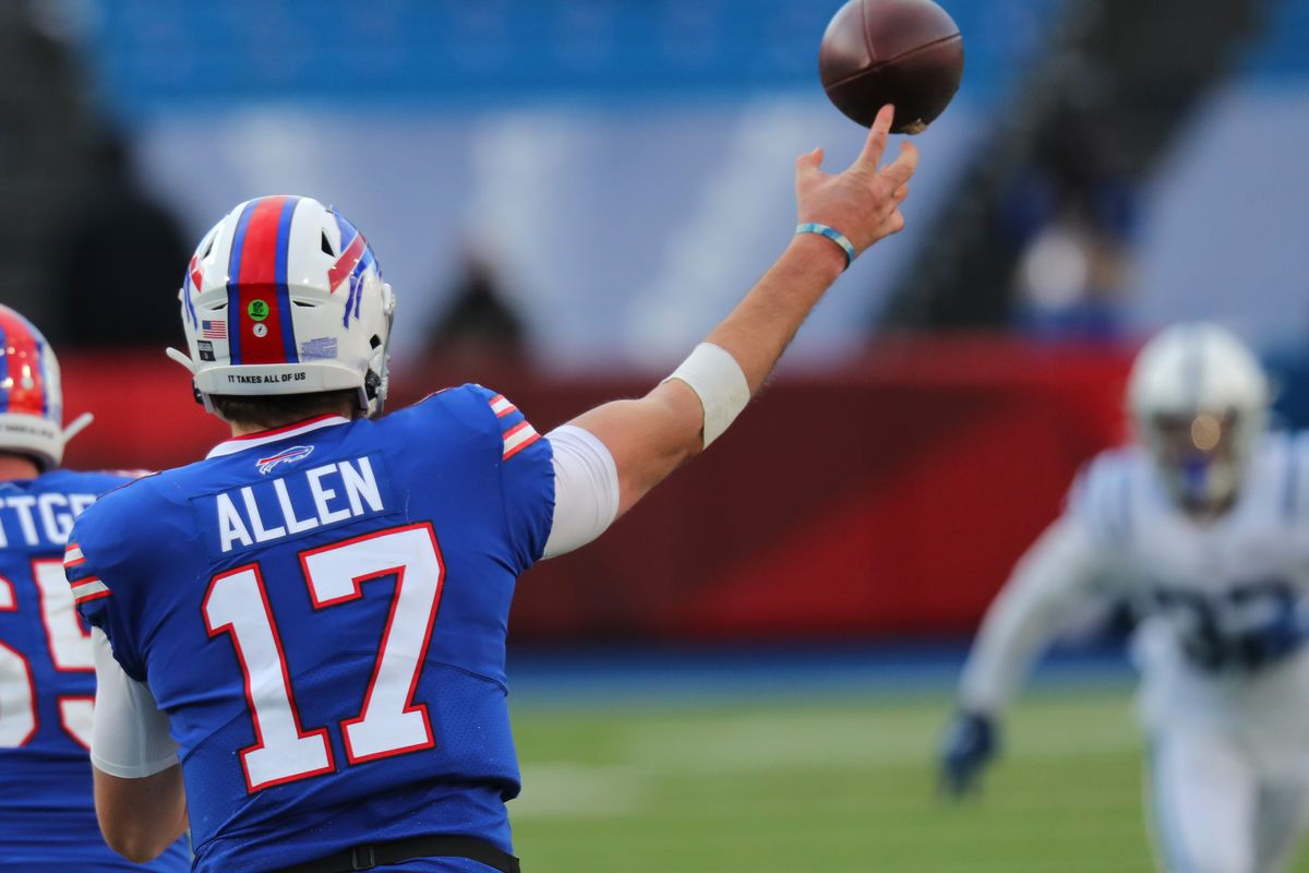 Josh Allen #17 of the Buffalo Bills throws a pass against the Indianapolis Colts at Bills Stadium on January 9, 2021 in Orchard Park, New York.