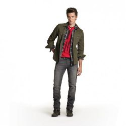Printed Flag Tee in Red, $19.99 Plaid Shirt in Gray, $34.99 Twill Shirt in Green, $34.99 Skinny Jeans in Gray, $49.99