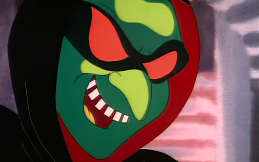 A grinning masked green face in the Doug Halloween special