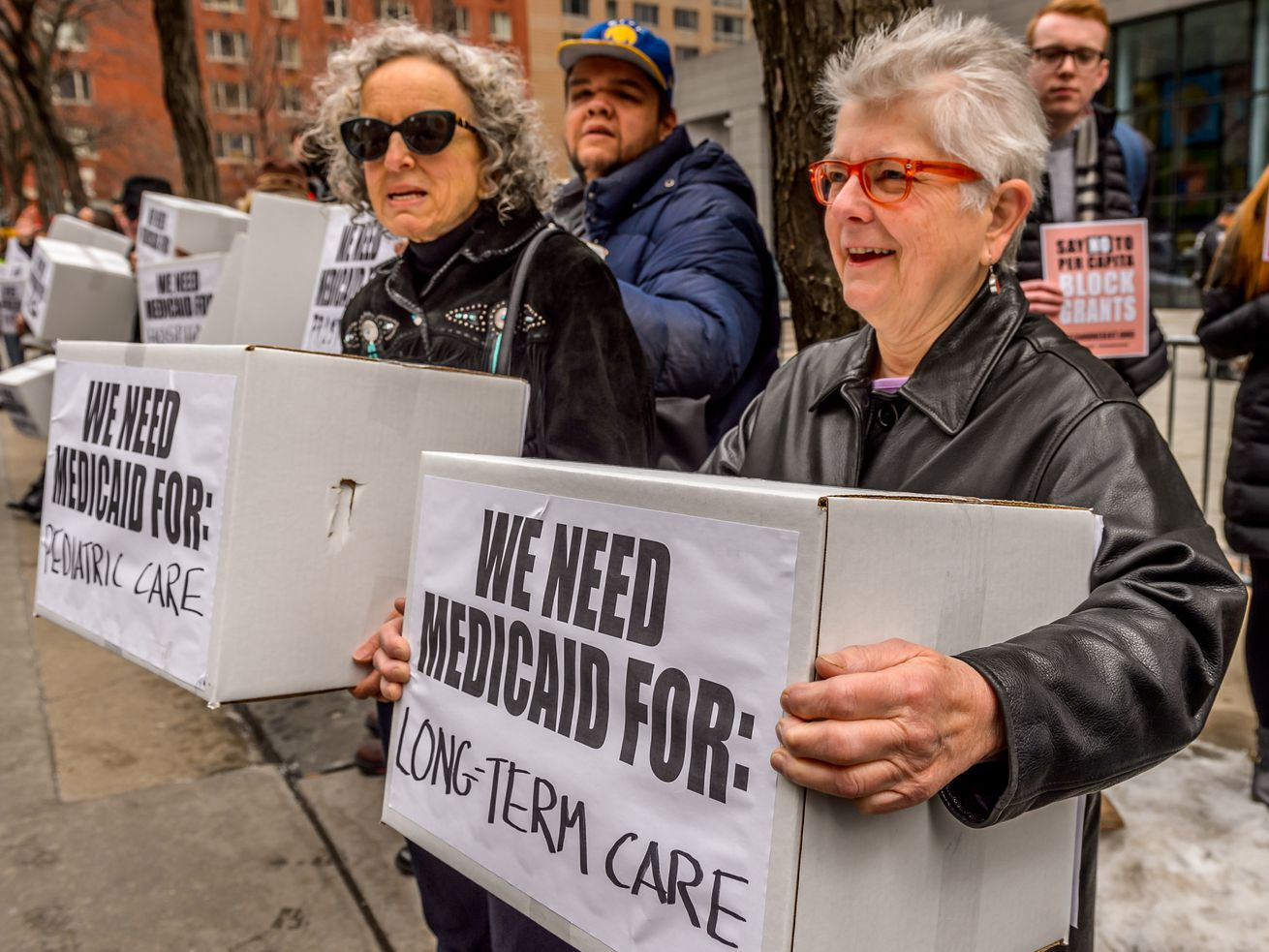 Demonstrators in New York in 2017, protesting against Republican Medicaid proposals.