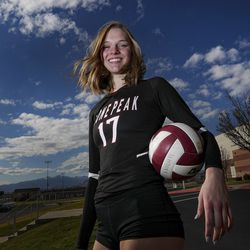 Lone Peak volleyball player Lauren Jardine poses for a photograph outside Lone Peak High School in Highland on Thursday, Nov. 19, 2020.