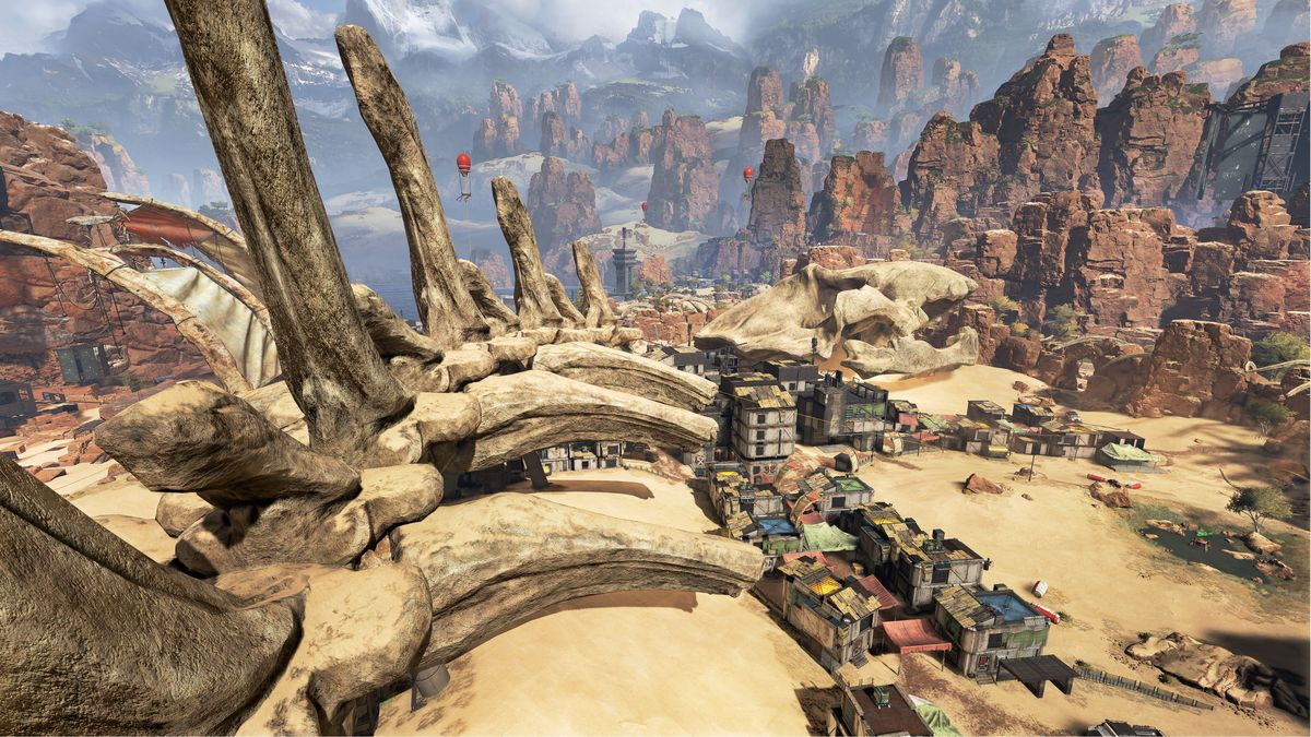 Apex Legends - spine of a giant animal in the desert