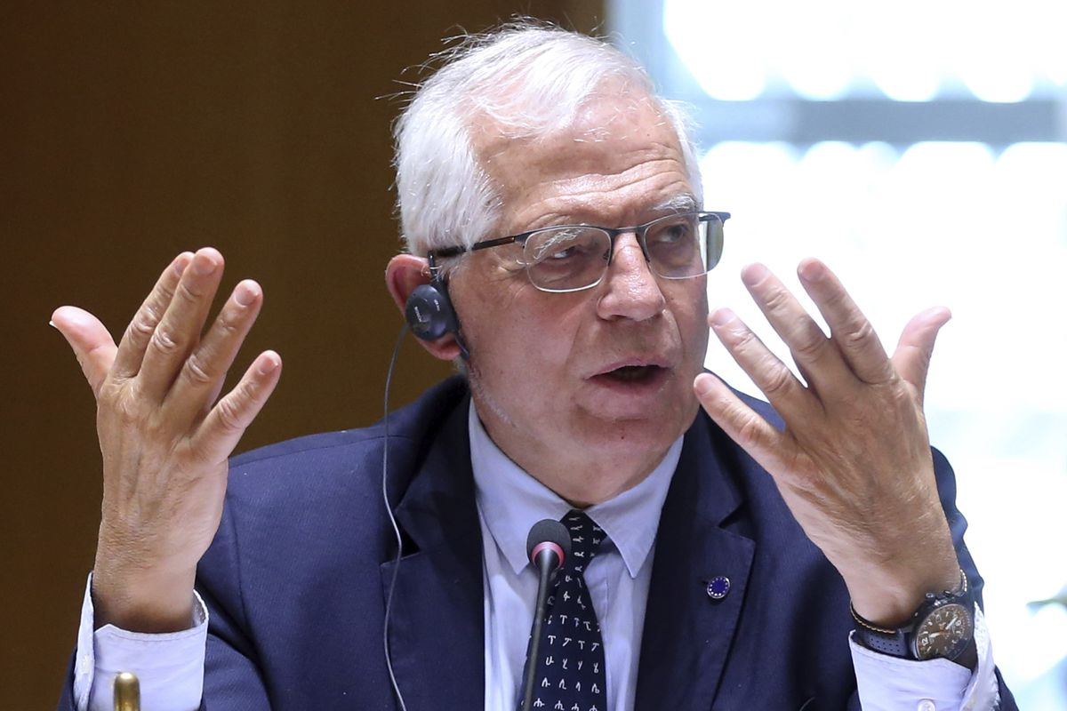 European Union foreign policy chief Josep Borrell speaks as he attends a meeting of EU foreign ministers to discuss the situation in Ukraine, at the European Council building in Brussels, Monday, April 19, 2021.