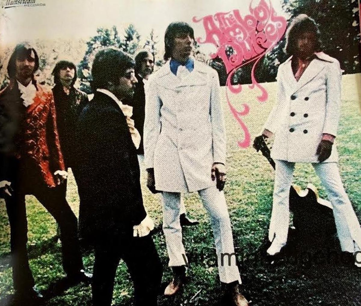 The Amboy Dukes in their heyday, including John Drake (center, in white suit) and Ted Nugent (at right, also in white).