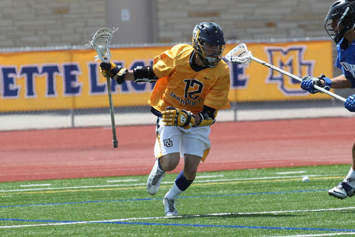 Conor Gately had four points against Detroit, including two goals in the final four minutes to help MU rally to win.