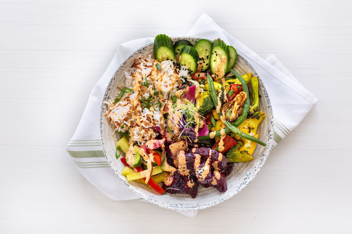 a veggie-filled bowl of vegetarian poke made with roasted beets