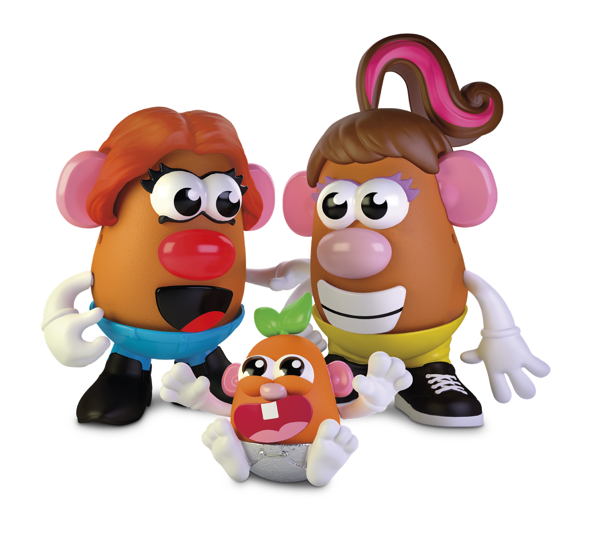 Create Your Own Potato Family , with two moms watching over a happy potato baby