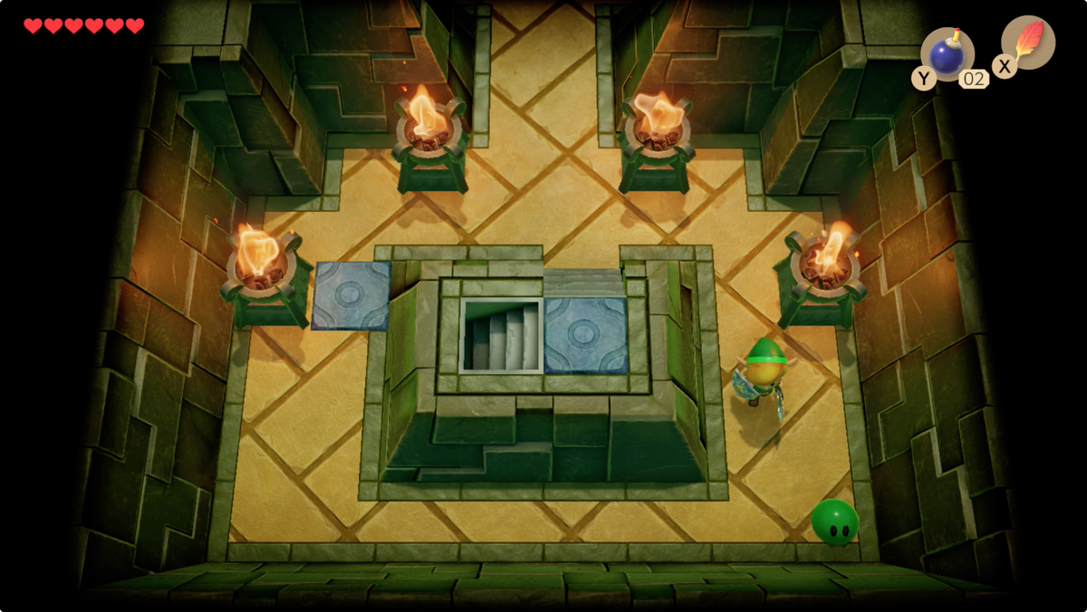 Link's Awakening Key Cavern clear the Green Zols at the top of the stairs to find another Small Key