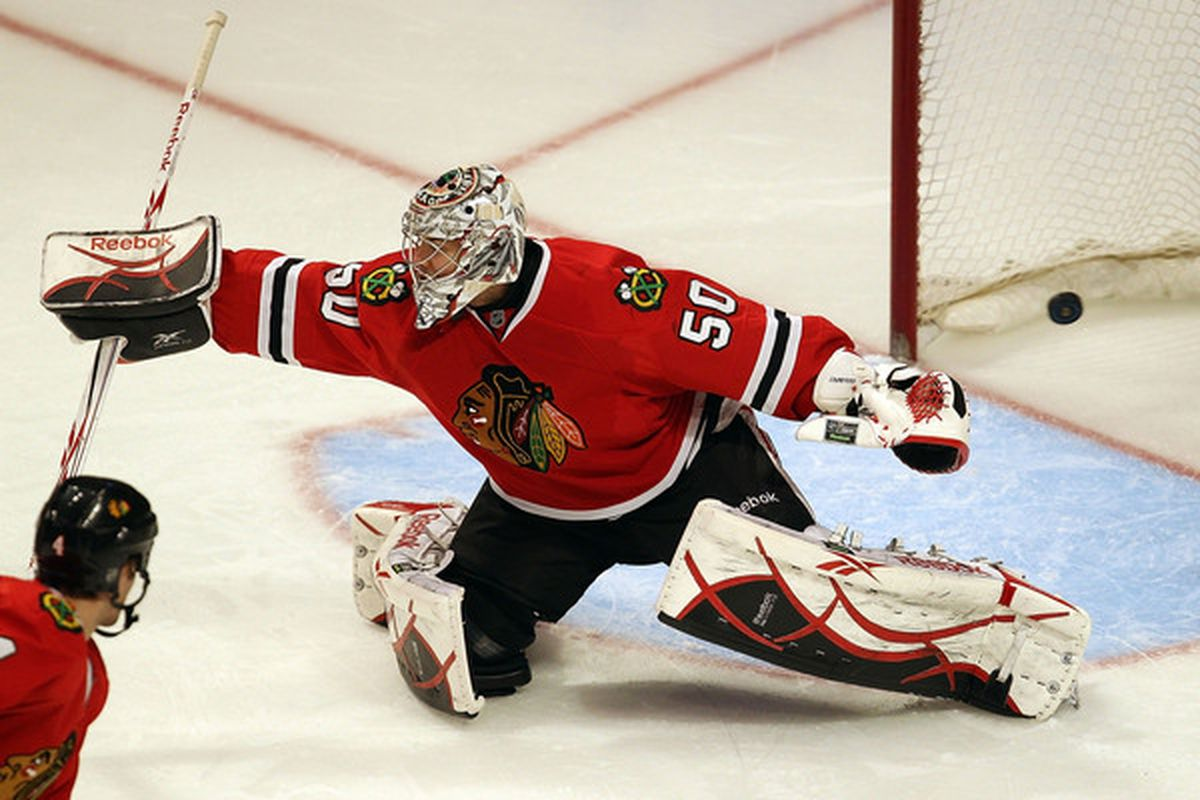 Corey Crawford:  Helping us define Replacement Level Goaltending all season long.  (Photo by Jonathan Daniel/Getty Images)
