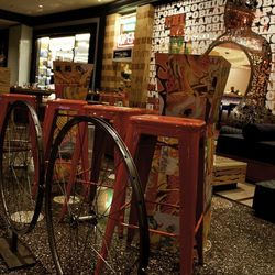 """The renovated patio at China Poblano includes a """"bike rack"""" separating the restaurant from traffic."""