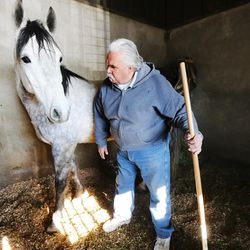 Alberto Gutierrez clean his horse's stall at the Salt Lake County Equestrian Park and Event Center in South Jordan on Monday, Feb. 8, 2016.