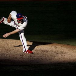 Philadelphia Phillies' Cliff Lee follows through after a pitch in the fourth inning of a baseball game against the Miami Marlins, Wednesday, Sept. 12, 2012, in Philadelphia.