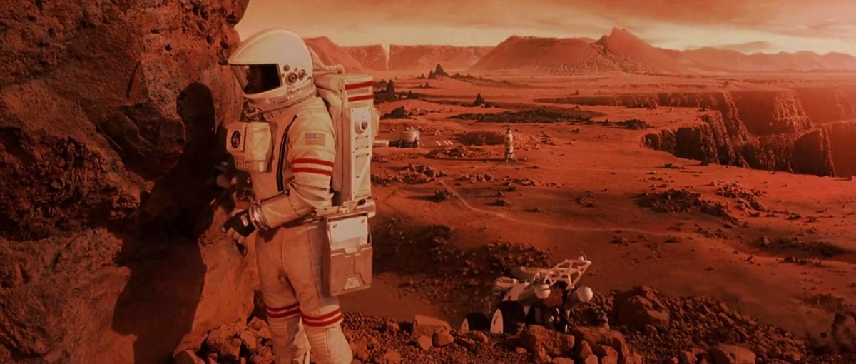 a lone astronaut on the surface of mars