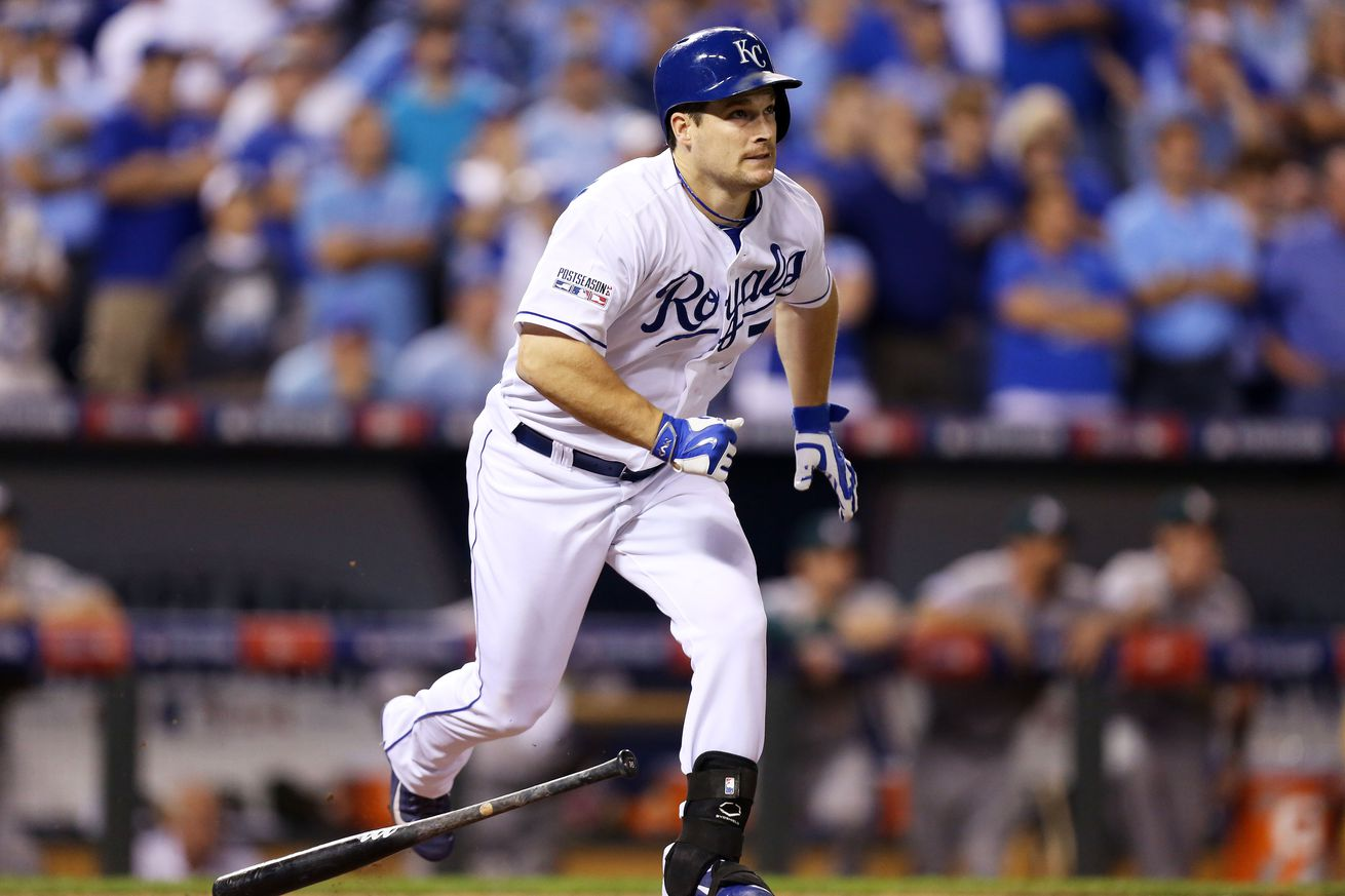 Josh Willingham #7 of the Kansas City Royals hits a single in the ninth inning against the Oakland Athletics during the American League Wild Card game at Kauffman Stadium on September 30, 2014 in Kansas City, Missouri.