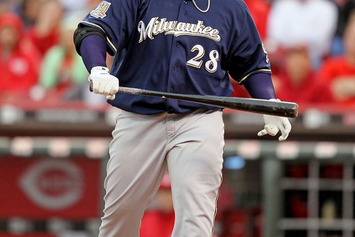 CINCINNATI - MAY 18:  Prince Fielder #28 of the Milwaukee Brewers is pictured after striking out during the game against the Cincinnati Reds at Great American Ball Park on May 18, 2010 in Cincinnati, Ohio.  (Photo by Andy Lyons/Getty Images)