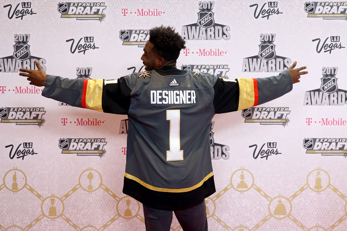 67361e8a1 Rapper Desiigner attends the 2017 NHL Awards wearing a Vegas Golden Knights  jersey at T-Mobile Arena on June 21