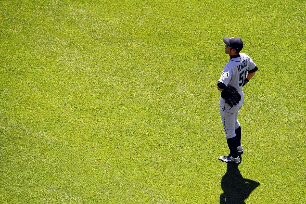 June 24, 2012; San Diego, CA, USA;  Seattle Mariners right fielder Ichiro Suzuki (51) against the San Diego Padres at Petco Park.  Mandatory Credit: Christopher Hanewinckel-US PRESSWIRE