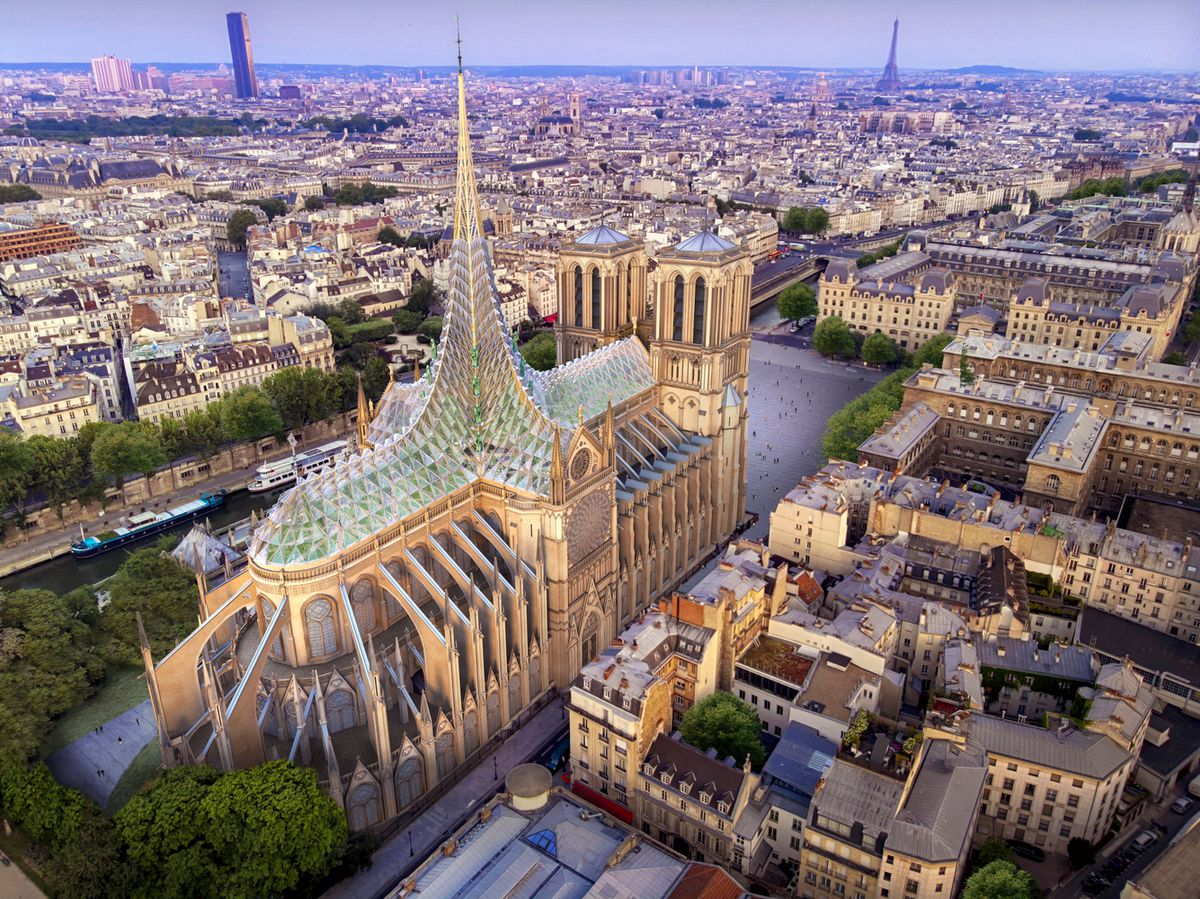 Rendering of Notre Dame with glass spire