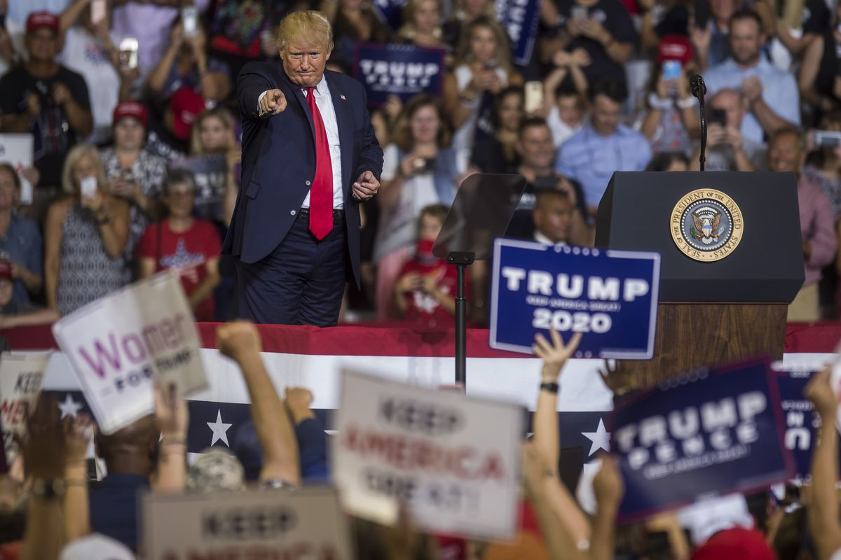 """Trump's July 17 rally in North Carolina, where the """"send her home"""" chant about Rep. Ilhan Omar emerged."""