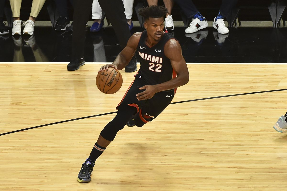 Jimmy Butler of the Miami Heat drives to the basket during the first half against the Milwaukee Bucks in Game Four of the Eastern Conference first-round playoff series at American Airlines Arena on May 29, 2021 in Miami, Florida.