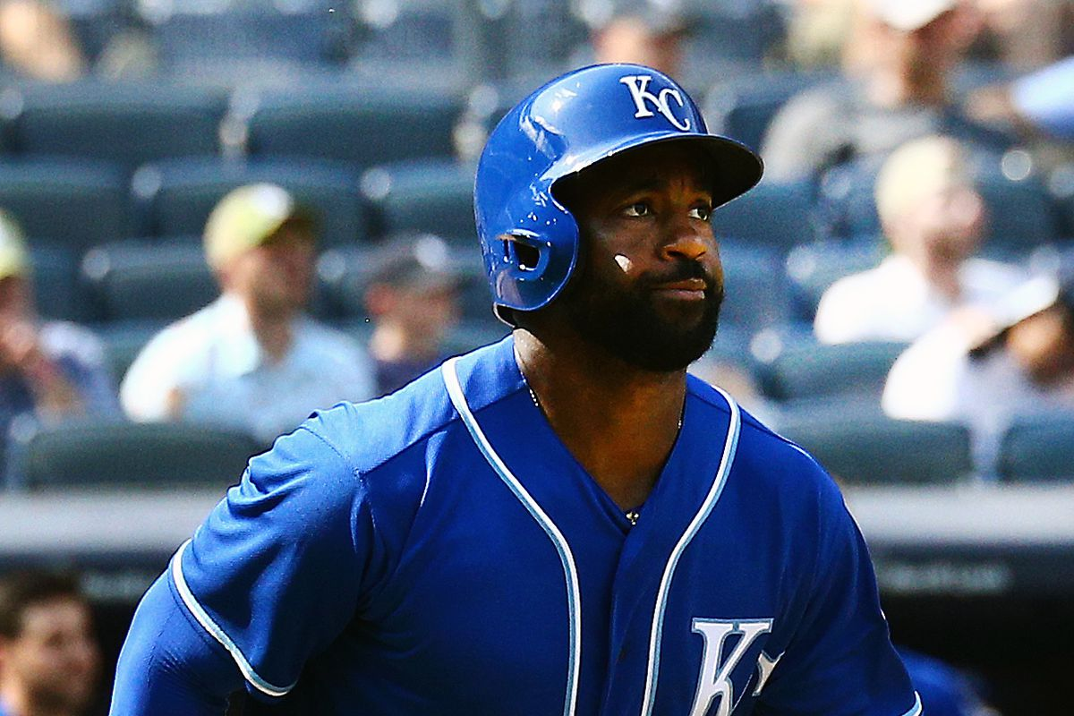 Kansas City Royals center fielder Brian Goodwin (25) watches his three run  home run against the New York Yankees during the eighth inning during the  first ... c203d6307e57