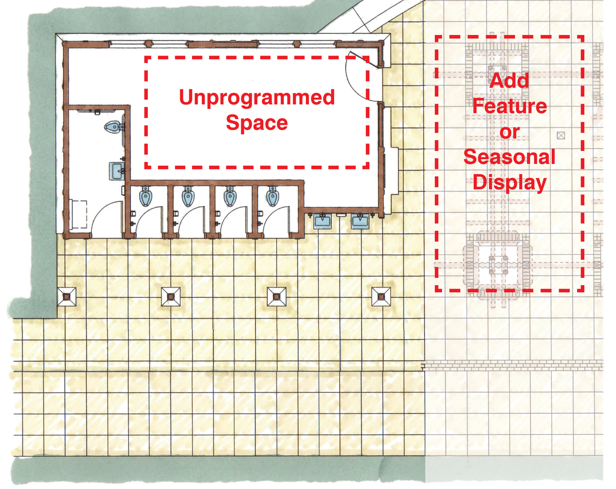 A design concept drawing featuring four small direct-entry bathroom stalls and one ADA-compliant single-occupancy bathroom, with two sinks on an exterior wall