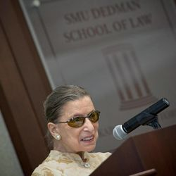 In this photo provided by Southern Methodist University, U.S. Supreme Court Justice Ruth Bader Ginsburg speaks as part of a lecture series at the university's Dedman School of Law in Dallas Monday, Aug. 29, 2011.
