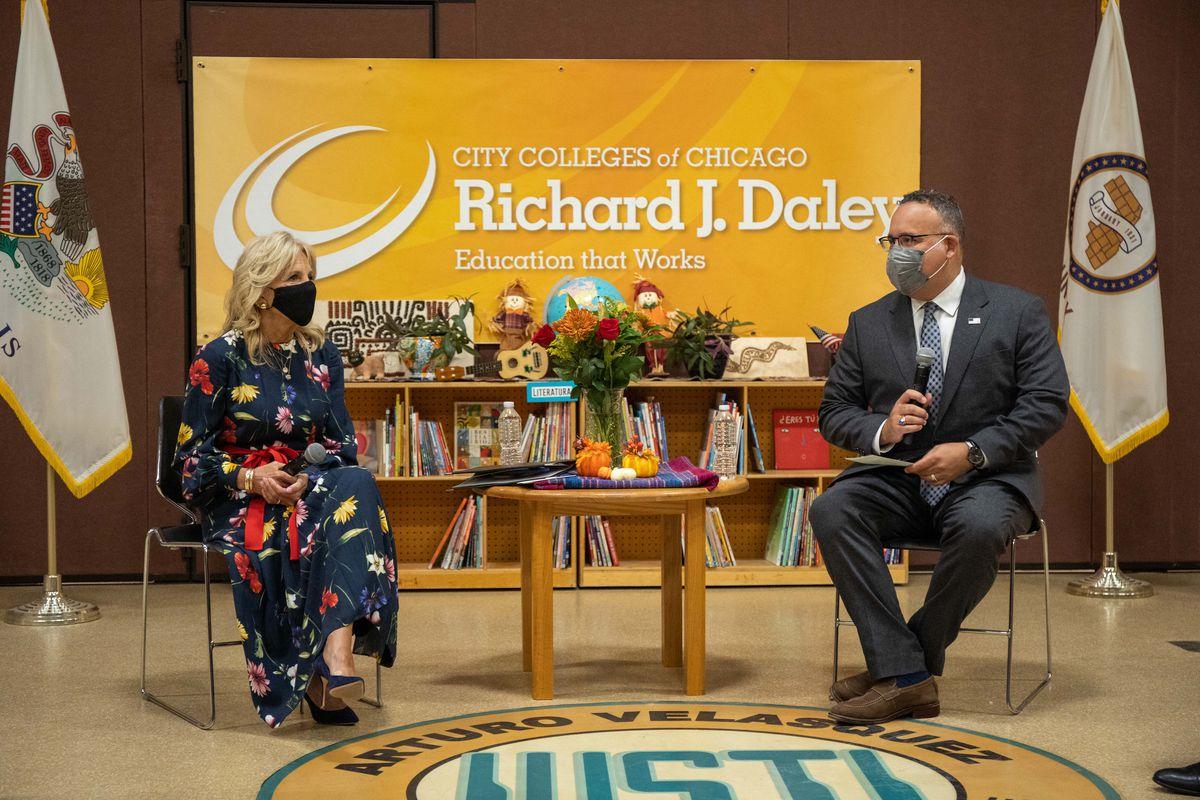 First lady Jill Biden and Education Secretary Miguel Cardona spoke Wednesday at Arturo Velasquez Institute in Little Village.