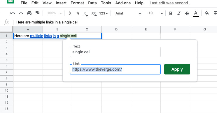 Today I learned Google Sheets now lets you link multiple words in a single cell