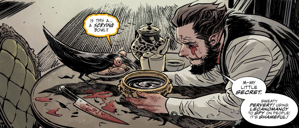 Abel shows the raven Matthew his scrying bowl. Abel has pulled out his eyes and affixed them, grotesquely and cartoonishly, to Matthew's eye sockets, in The Dreaming #15, DC Comics (2019).
