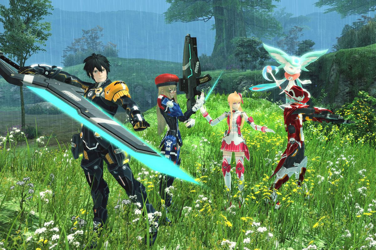 Four heroes stand in a grassy field in a screenshot from Phantasy Star Online 2