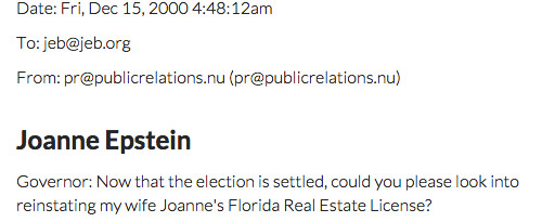 Jeb Bush real estate email