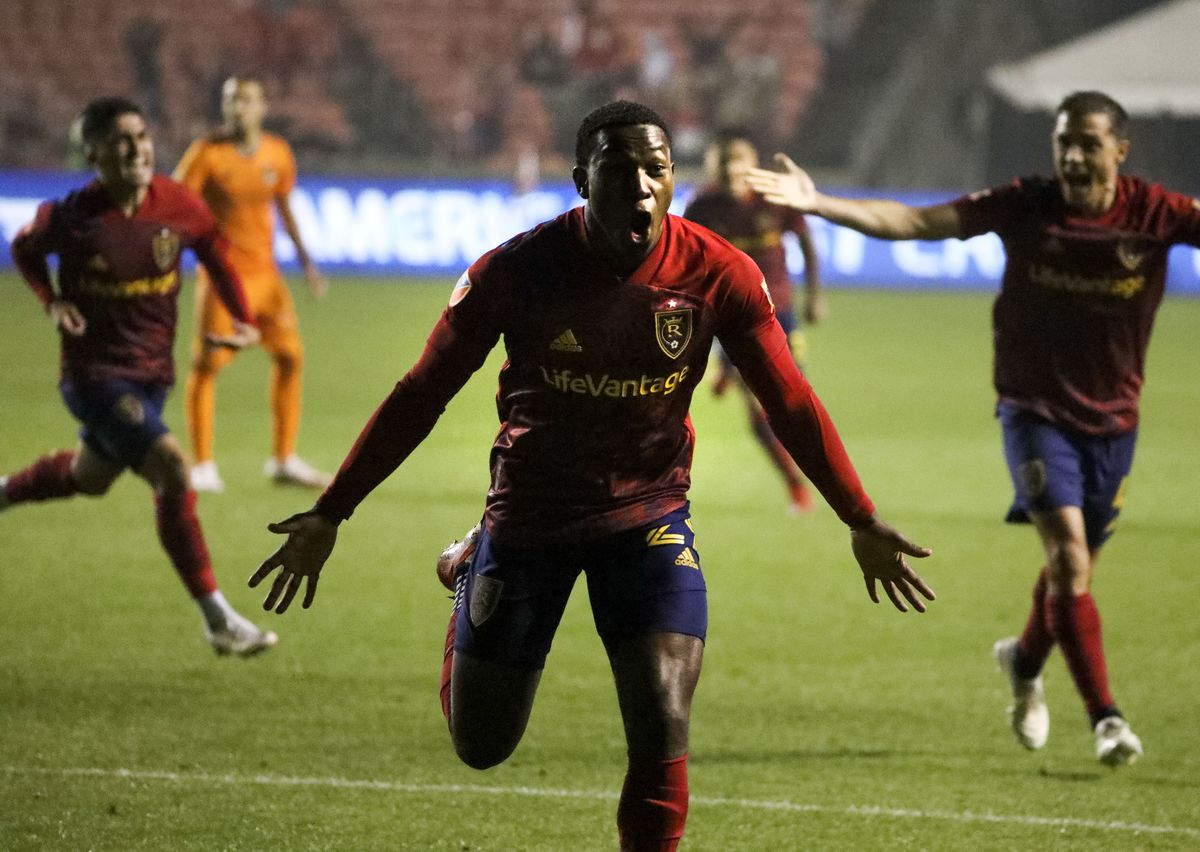 Real Salt Lake's Anderson Julio (29) celebrates his goal in the second half of a soccer game against the Houston Dynamo at Rio Tinto Stadium in Sandy on Wednesday, Aug. 18, 2021.