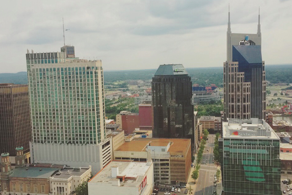A view of downtown Nashville, Tennessee's state capital